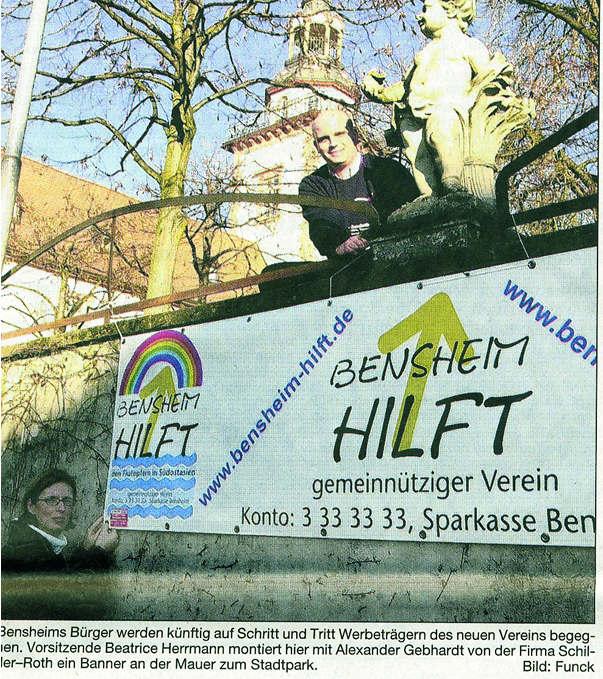 Bergsträßer Anzeiger 12.1.2005 Werbebanner für Bensheim Hilft