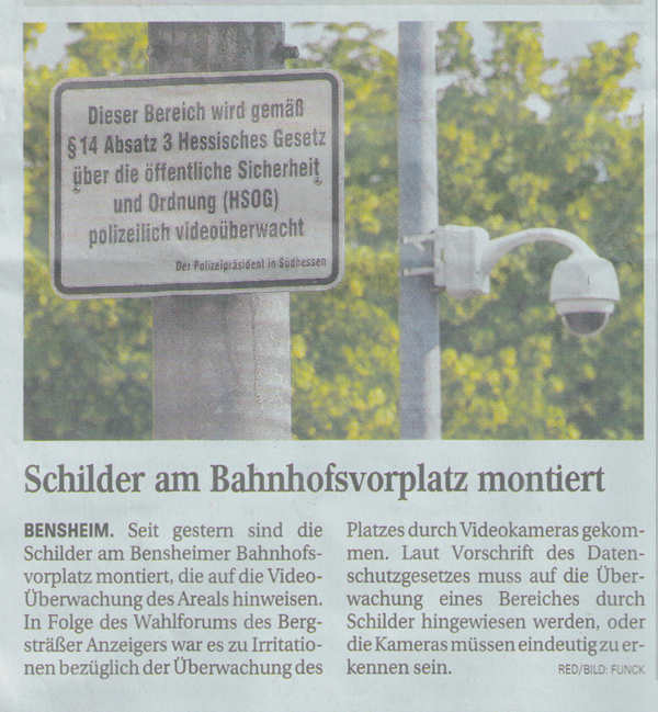 Bergsträßer Anzeiger 10.6.2008 Hinweisschild