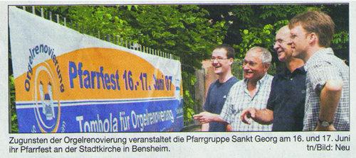 Bergsträßer Anzeiger 30.5.2007 Werbebanner gesponsert