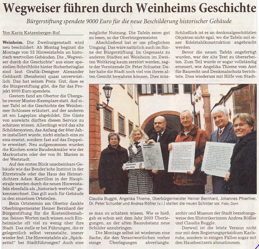 Rhein-Neckar-Zeitung 7.3.2009