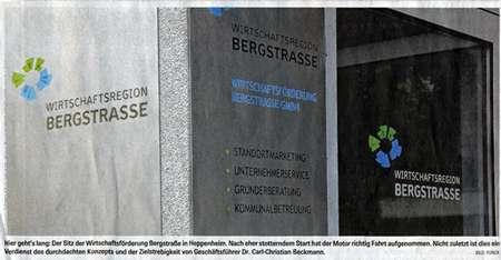 Bergsträßer Anzeiger 8.11.2008 Edelstahlschild & Glas-Beschriftung